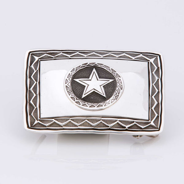 Texas Lone Star Sterling Silver Trophy Buckle