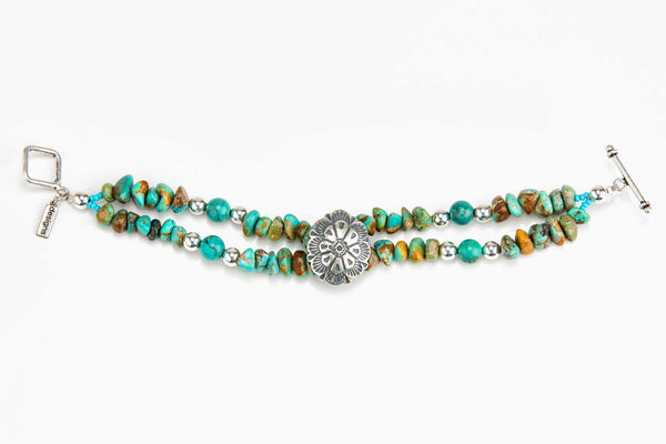 2-Strand Turquoise Bracelet with Sterling Silver Concho