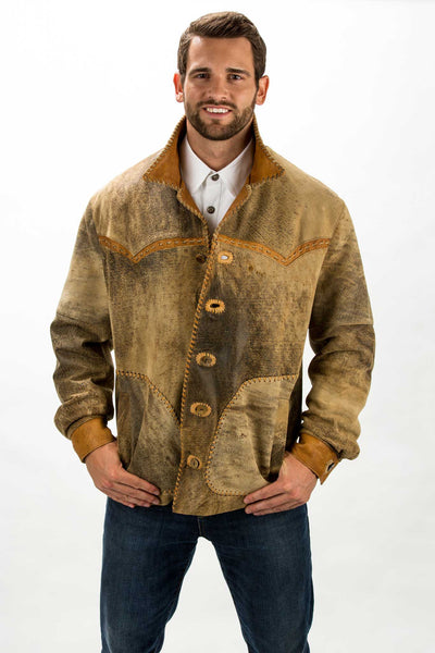 Hand Laced New Zealand Distressed Lamb Leather Jacket