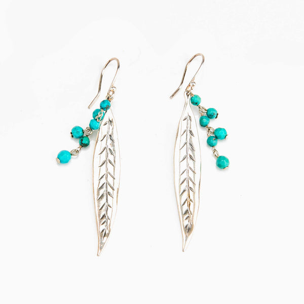 Sterling Silver Long Feather Earrings with Turquoise