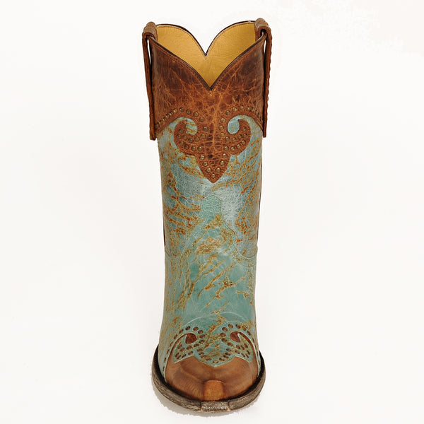 Caroline Aqua with Distressed Brass 10 Inch Boot Front