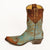 Caroline Aqua with Distressed Brass 10 Inch Boot Side Left