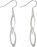 Jewelry Trends Silver Plated Steel Bright Finish Double Oval Dangle Earrings