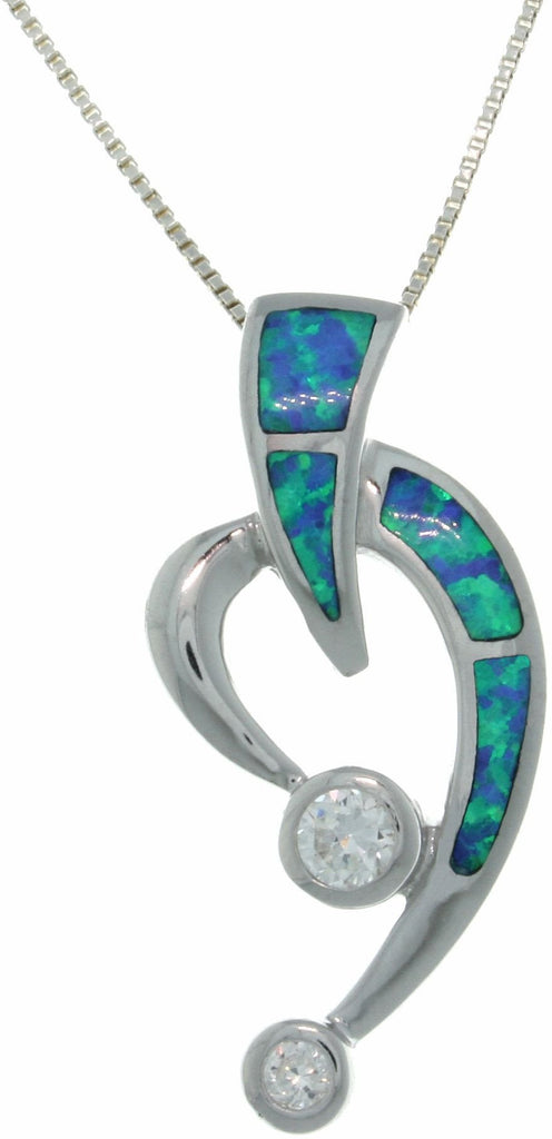 "Jewelry Trends Sterling Silver Lab Created Blue Opal and CZ Open Heart Slide Pendant on 18"" Box Chain Necklace"