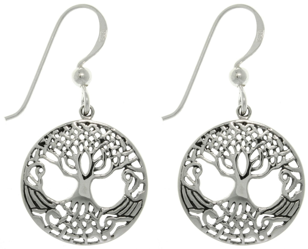 Jewelry Trends Sterling Silver Tree of Life Round Weaved Dangle Earrings