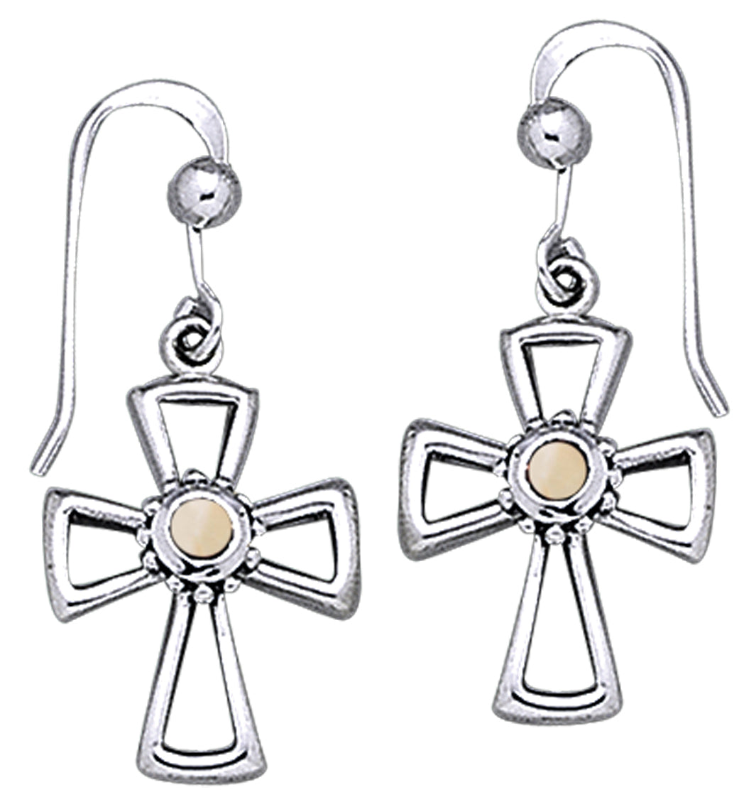 Jewelry Trends Sterling Silver and Mother of Pearl Celtic Cross Dangle Earrings