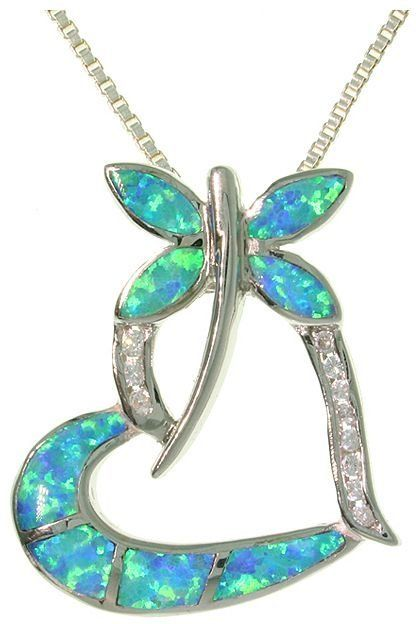 Jewelry Trends Sterling Silver Created Blue Opal Dragonfly Heart Pendant with Clear CZ Stones on 18 Inch Necklace
