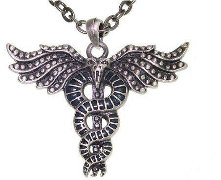 Jewelry Trends Pewter Caduceus Winged Dragon Unisex Pendant on 24 Inch Chain Necklace