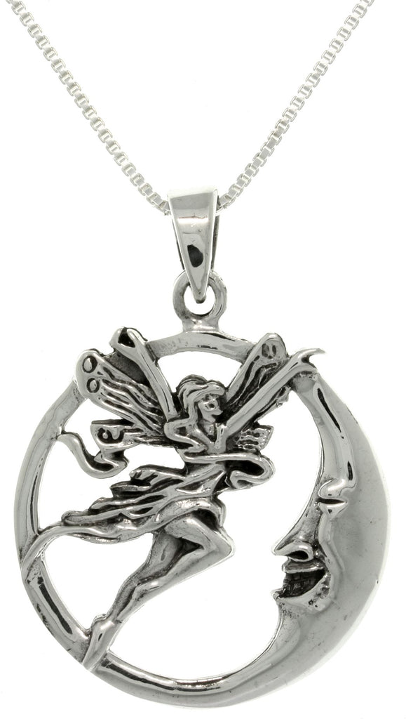 Jewelry Trends Sterling Silver Fairy and Moon Round Pendant on 18 Inch Chain Necklace