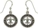 Jewelry Trends Sterling Silver Celtic Knot Fleur De Lis Dangle Earrings