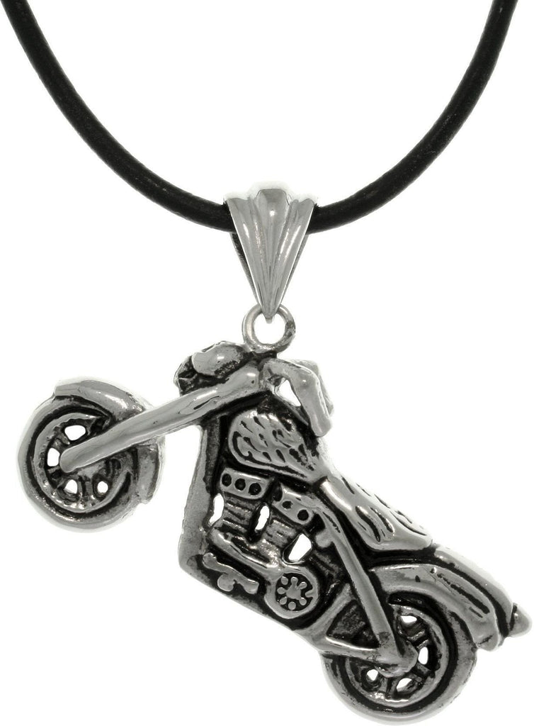 Jewelry Trends Stainless Steel Motorcycle Biker Pendant on Black Leather Cord Necklace