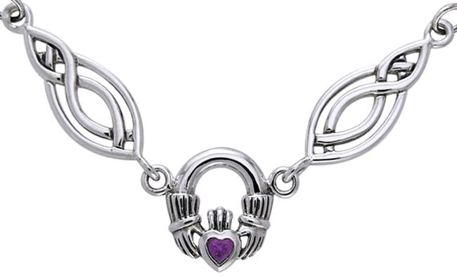 Jewelry Trends Sterling Silver Celtic Claddagh with Amethyst Pendant on Oval Knot and Chain Necklace Necklace