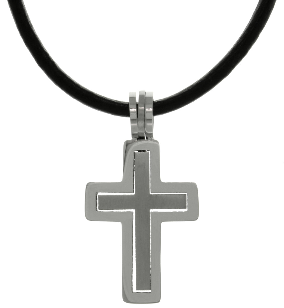 Jewelry Trends Stainless Steel Two-piece Double Cross Pendant on Black Leather Necklace