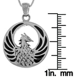 Jewelry Trends Sterling Silver Phoenix Fire Bird Pendant with Black Onyx on 18 Inch Box Chain Necklace