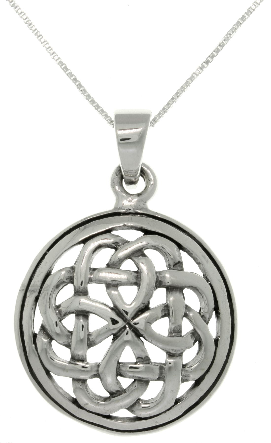 Jewelry Trends Sterling Silver Eternal Celtic Knot Pendant with 18 Inch Box Chain Necklace