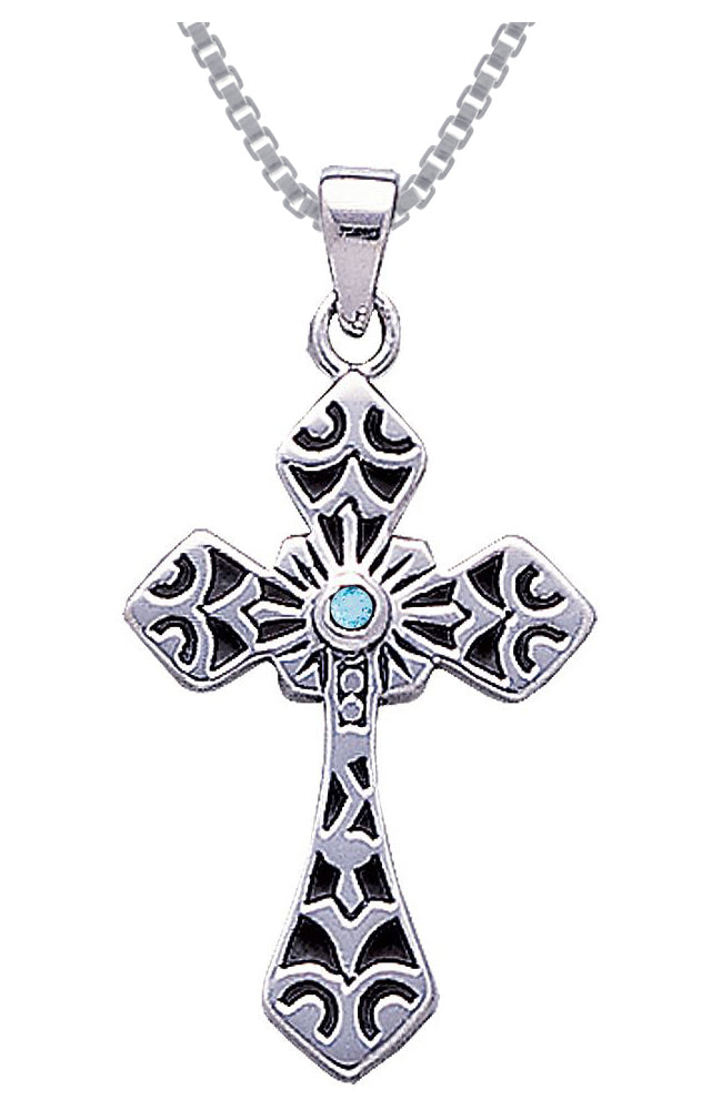 Jewelry Trends Sterling Silver with Blue Topaz Celtic Cross Pendant on 18 Inch Box Chain Necklace