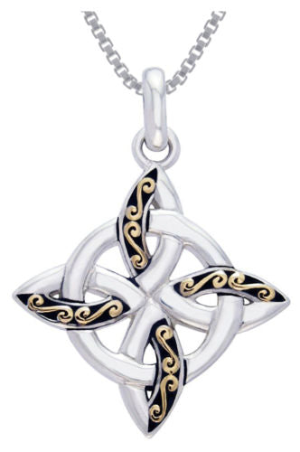 Jewelry Trends Sterling Silver and Gold-Plated Celtic Quaternary Knot Pendant on 18 Inch Box Chain Necklace