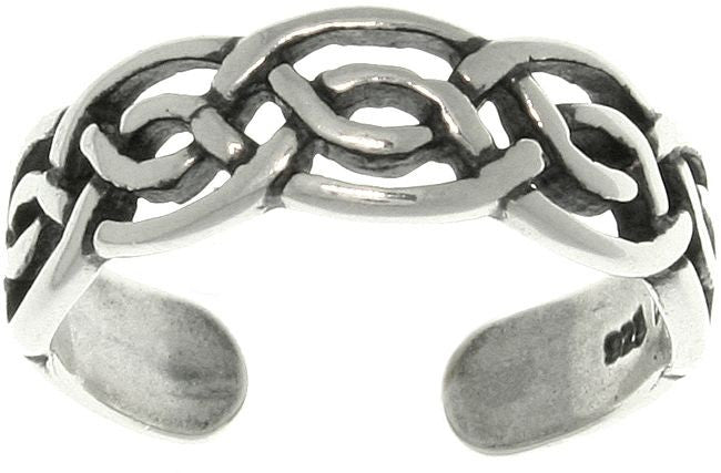 Jewelry Trends Sterling Silver Celtic Round Knot Adjustable Toe Ring
