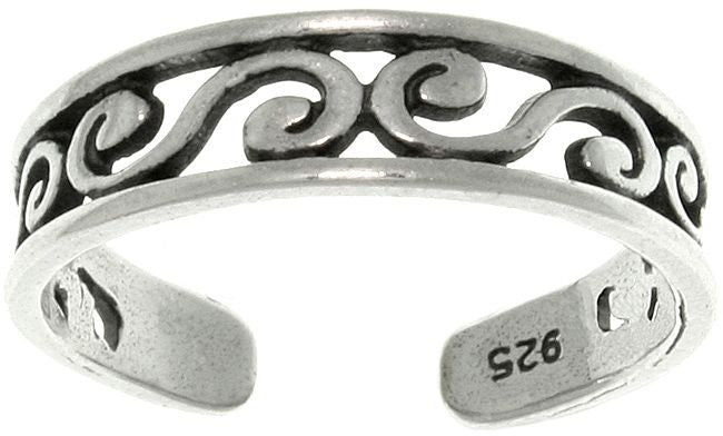 Jewelry Trends Sterling Silver Filigree Scroll Design Adjustable Toe Ring