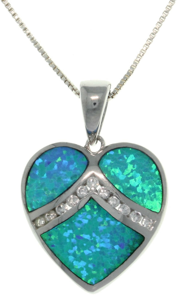"Jewelry Trends Sterling Silver Created Blue Opal Love Heart Pendant with Clear Pave CZ on 18"" Box Chain Necklace"