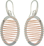 Sterling Silver & Rose Gold Oval Earrings with Wrapped Twisted Rope Design