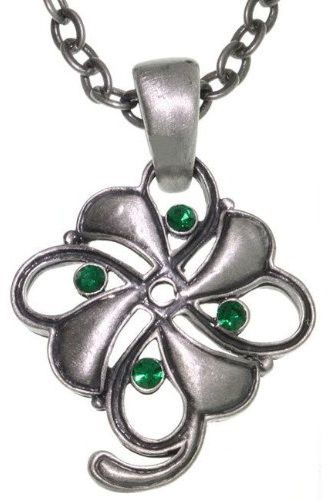 Jewelry Trends Pewter Four Leaf Clover Pendant with 24 Inch Chain Necklace