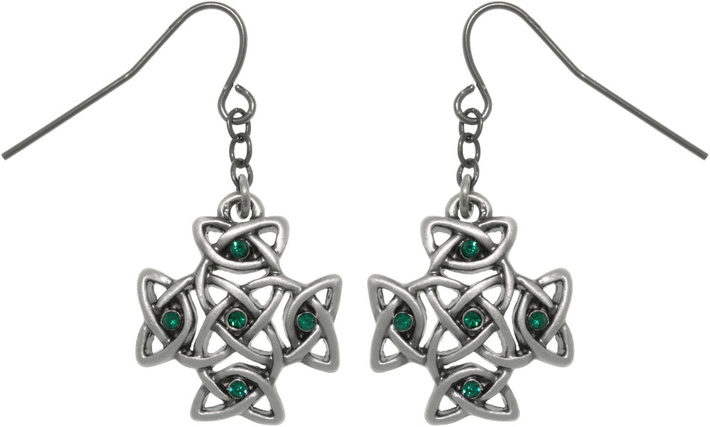 Jewelry Trends Pewter Celtic Cross with Green Crystal Rhinestones Dangle Earrings