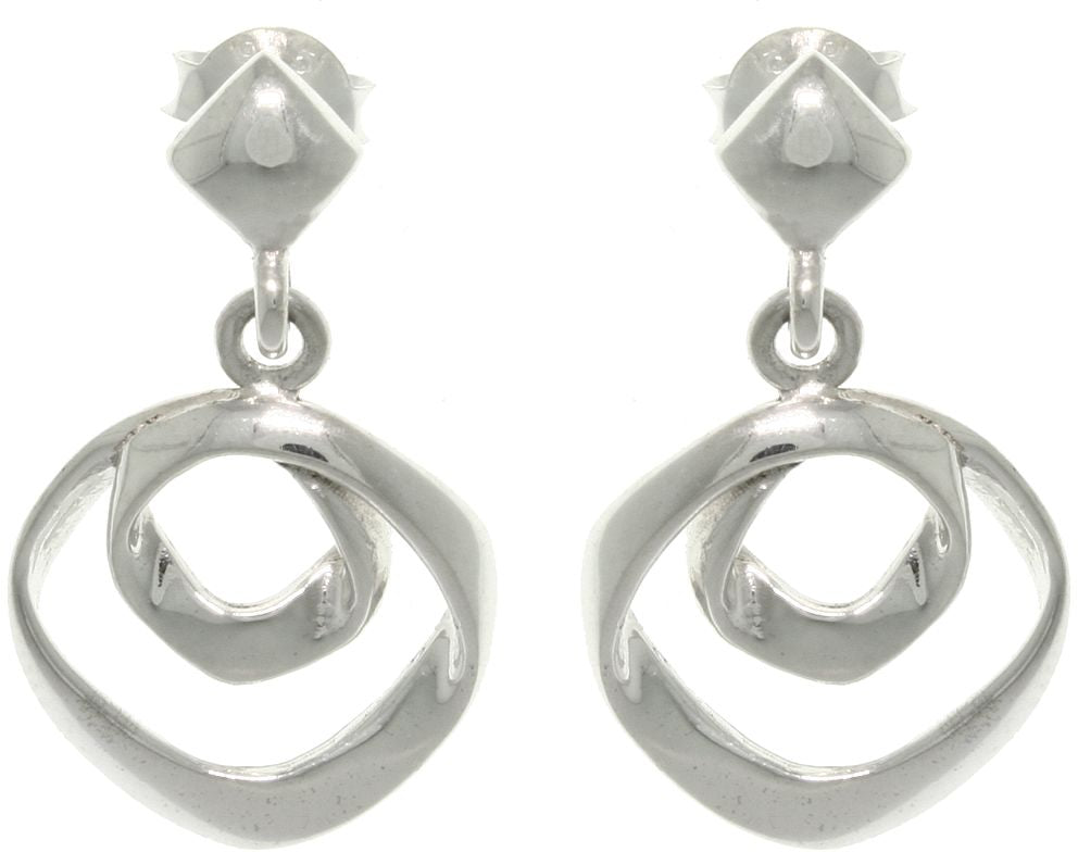 Jewelry Trends Sterling Silver Free Form Circles Hoop Dangle Earrings