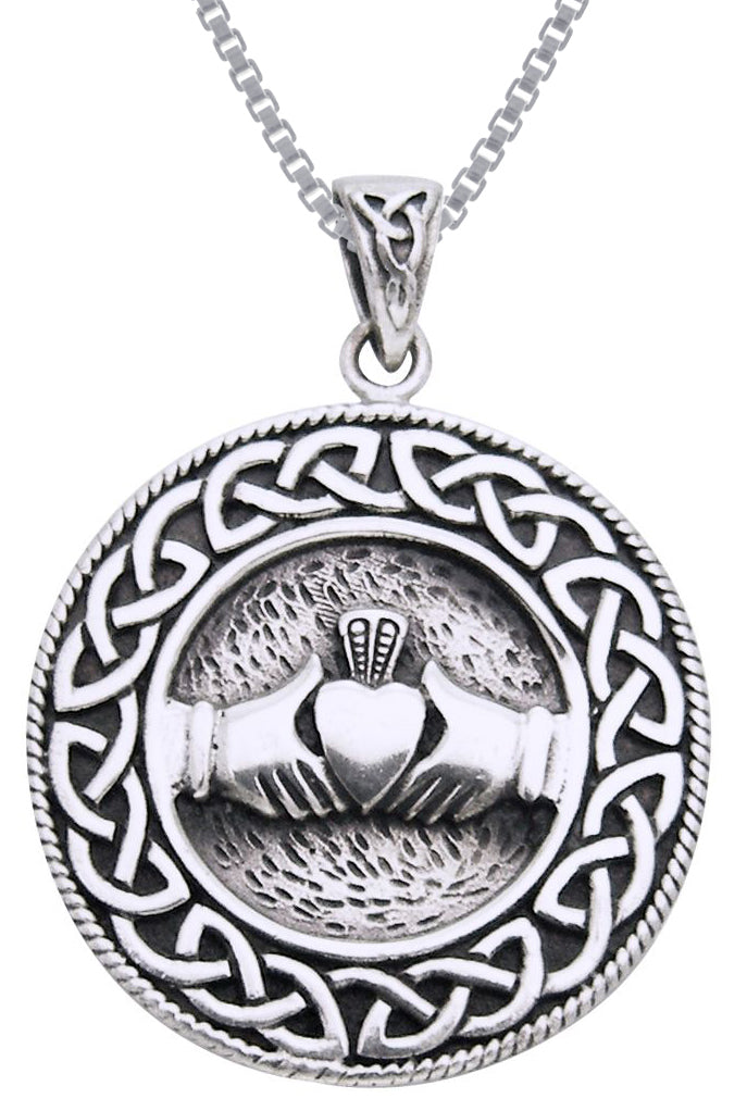 Jewelry Trends Sterling Silver Celtic Claddagh Knot Work Round Pendant on 18 Inch Box Chain Necklace