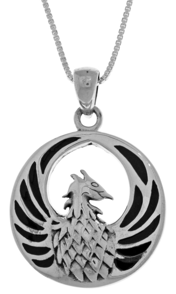 "Jewelry Trends Phoenix Fire Bird Sterling Silver Pendant Necklace 18"" Black Onyx"