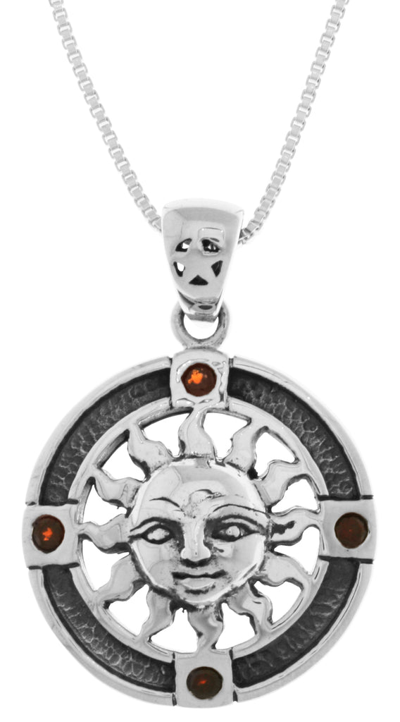 Jewelry Trends Sterling Silver Sun Medallion Pendant with Garnet on 18 Inch Box Chain Necklace