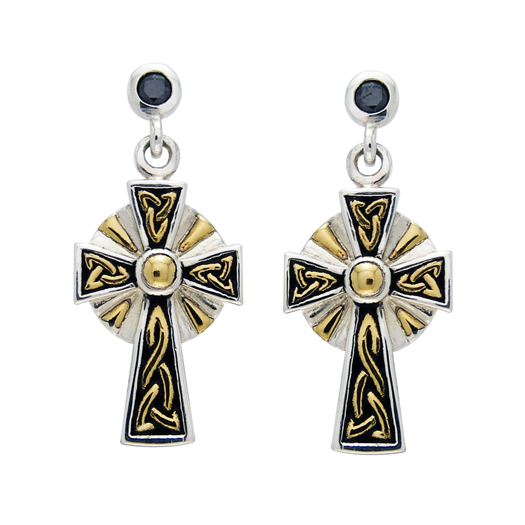 Jewelry Trends Sterling Silver and Gold Plated Celtic Cross Dangle Earrings with Black CZ Posts