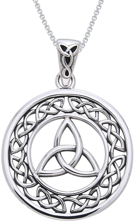 Jewelry Trends Sterling Silver Celtic Border Trinity Knot Round Pendant on 18 inch Chain Necklace