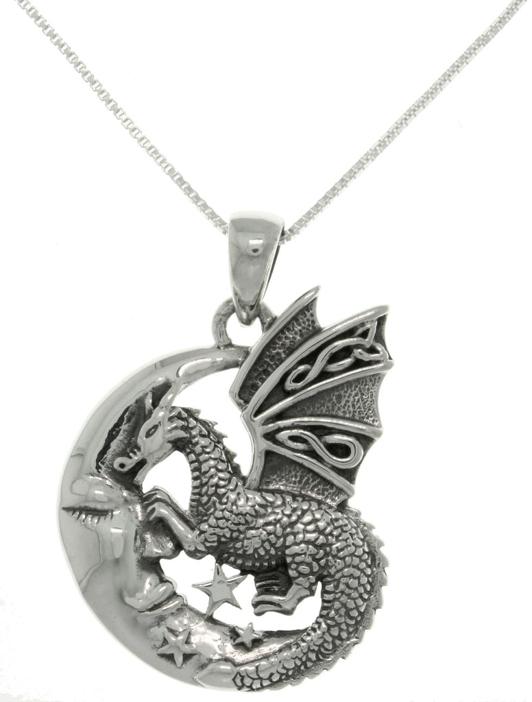 "Jewelry Trends Sterling Silver Moon and Dragon Celtic Knot Pendant on 18"" Box Chain Necklace"