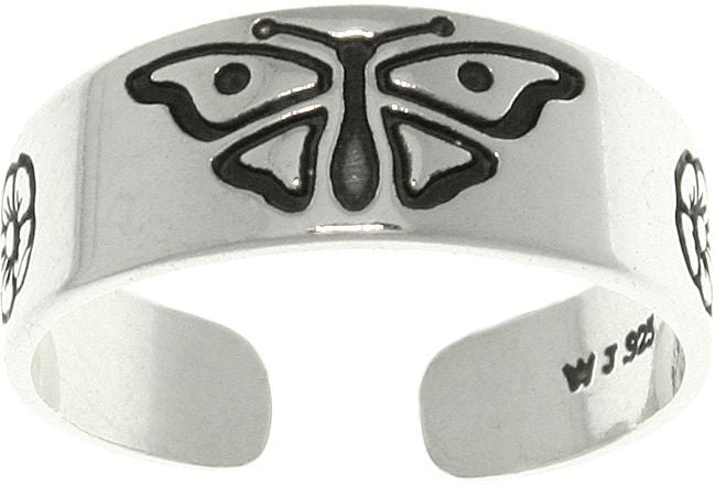 Jewelry Trends Sterling Silver Butterfly and Daisy Flowers Adjustable Toe Ring
