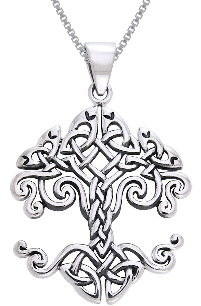 Jewelry Trends Sterling Silver Celtic Knot Work Tree of Life Pendant on 18 Inch Box Chain Necklace