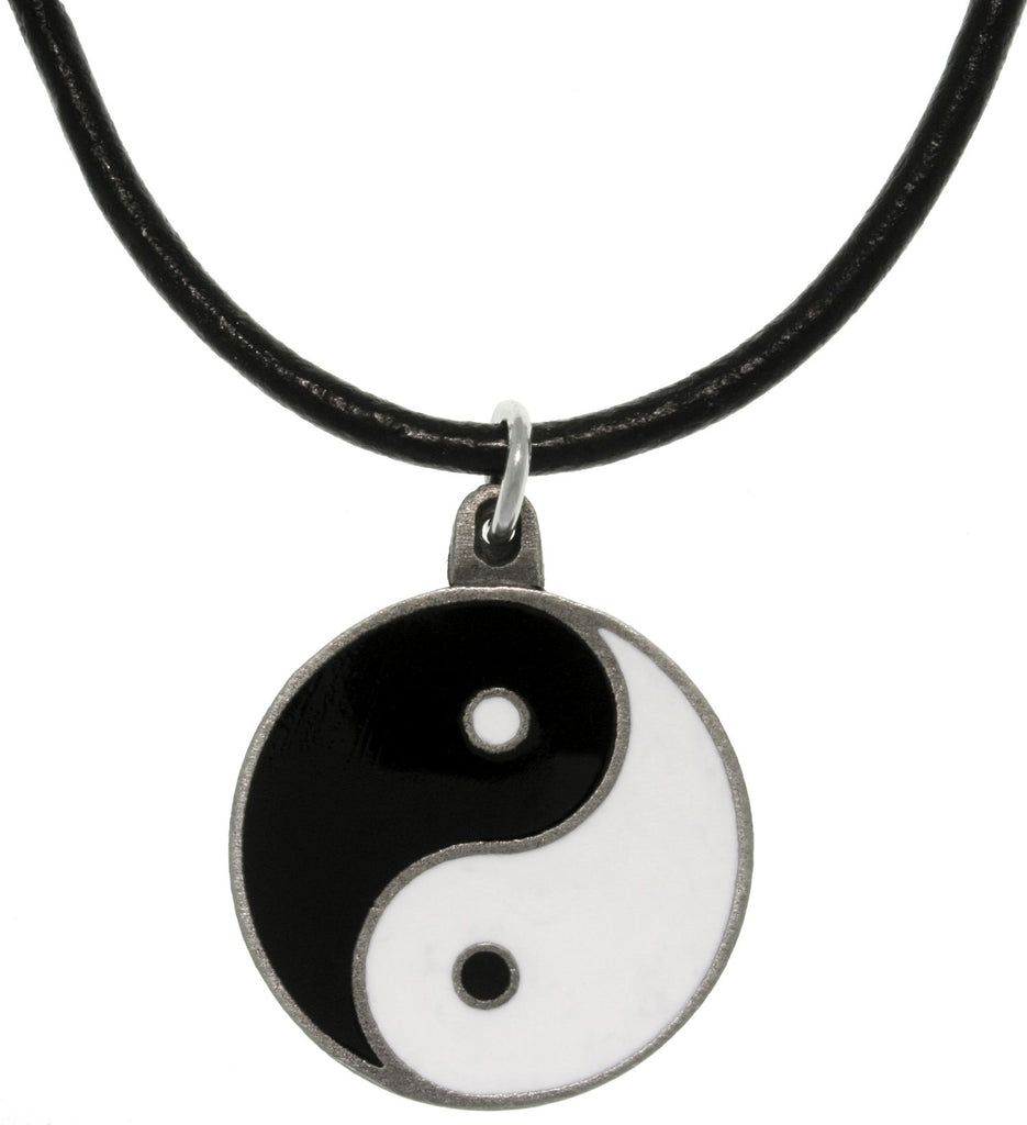 Jewelry Trends Pewter Yin Yang Pendant with 18 Inch Black Leather Cord Necklace Balance Symbol