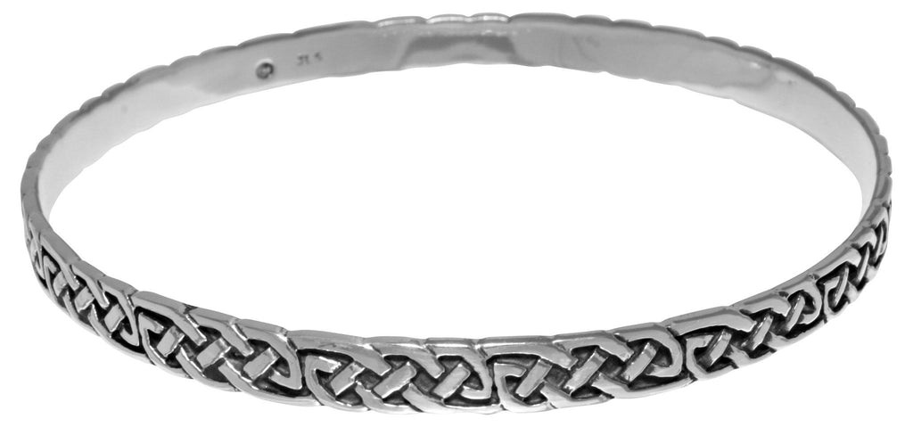 Jewelry Trends Silver Plated Bronze Celtic Knot Bangle Bracelet