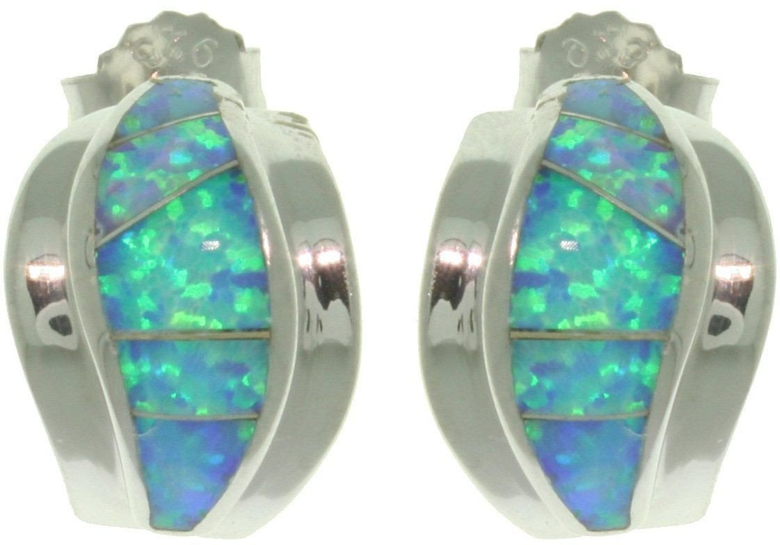 Jewelry Trends Sterling Silver Created Blue Opal Half Hoop Earrings