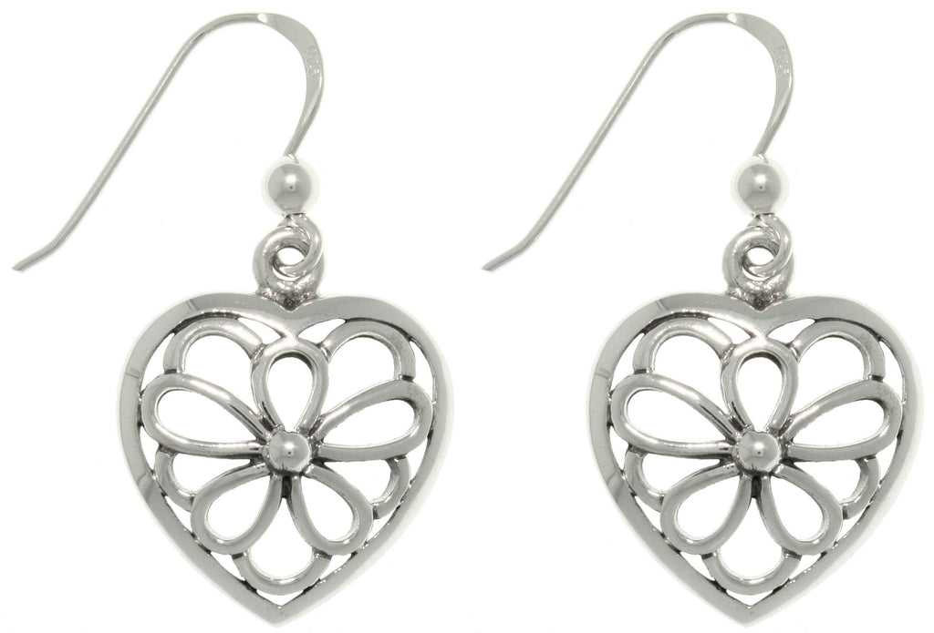 Jewelry Trends Sterling Silver Open Flower Heart Dangle Earrings