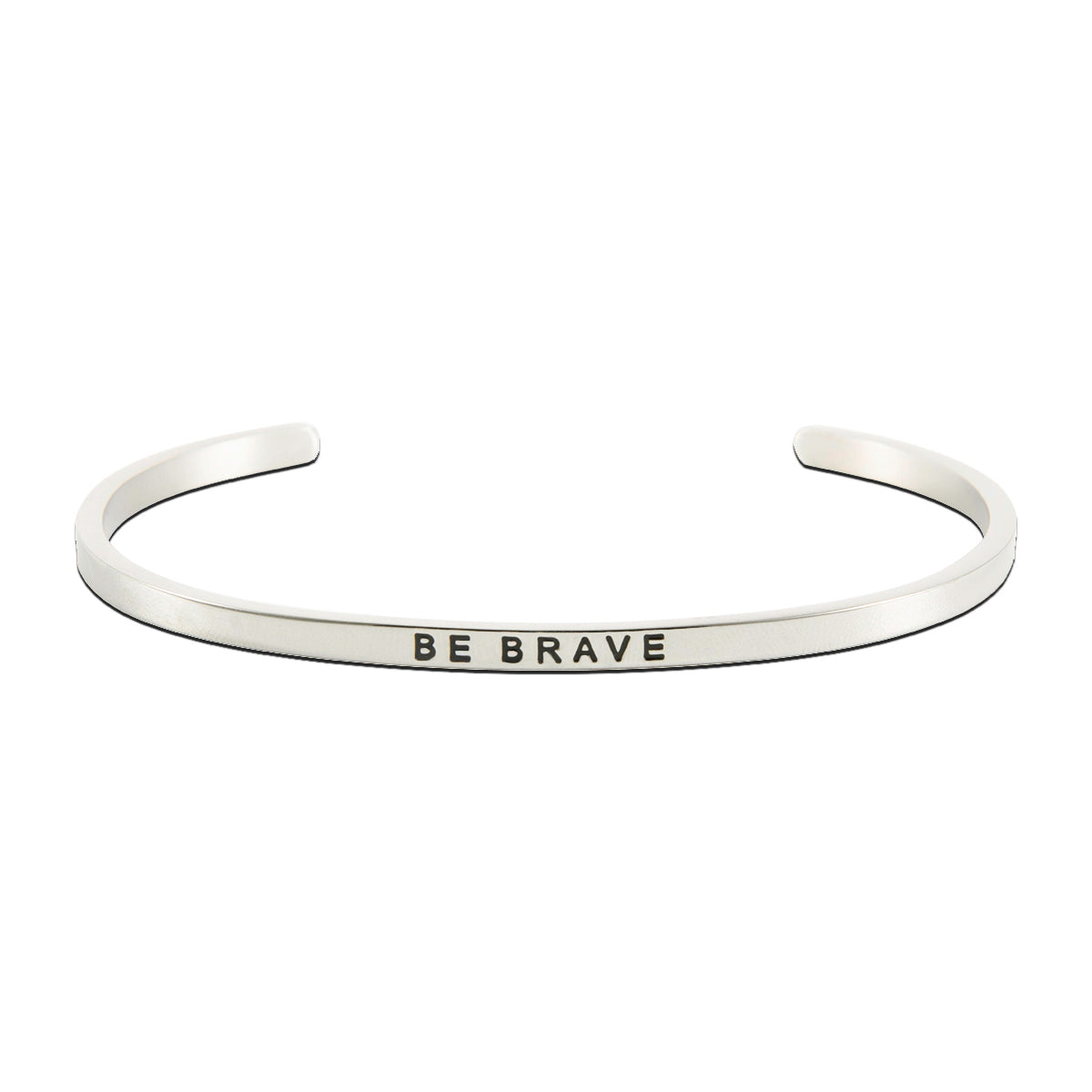 Jewelry Trends Stainless Steel BE BRAVE Message Bangle Stacking Bracelet Graduation Gift