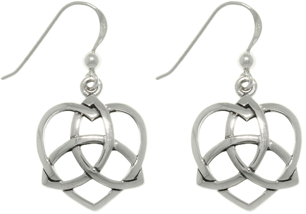 Jewelry Trends Sterling Silver Celtic Trinity Knot Love Heart Dangle Earrings