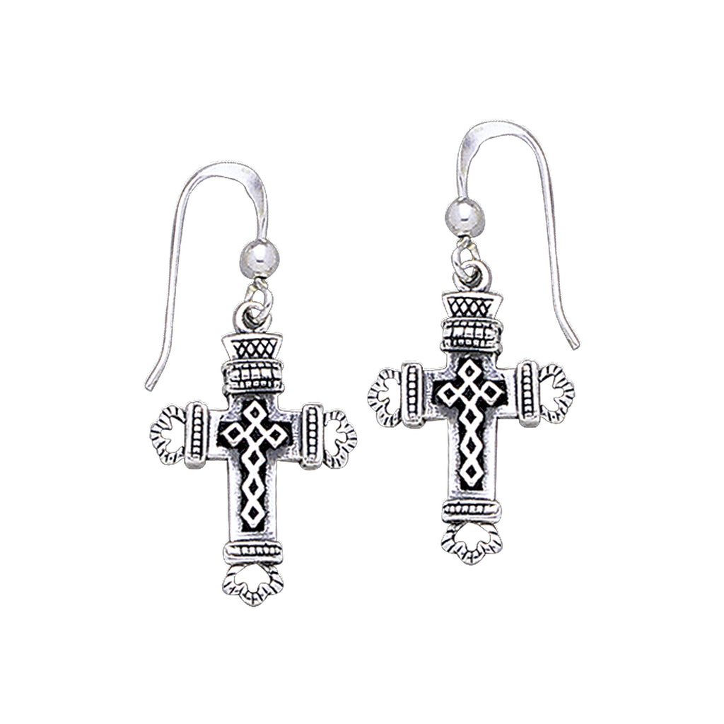 Jewelry Trends Sterling Silver Celtic Cross Dangle Earrings