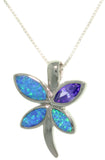 Jewelry Trends Sterling Silver Created Blue Opal and Purple Cubic Zirconia Butterfly Pendant with 18 Inch Box Chain Necklace