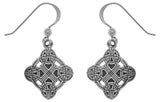 Jewelry Trends Sterling Silver Celtic Irish Clonmacnoise Cross Dangle Earrings