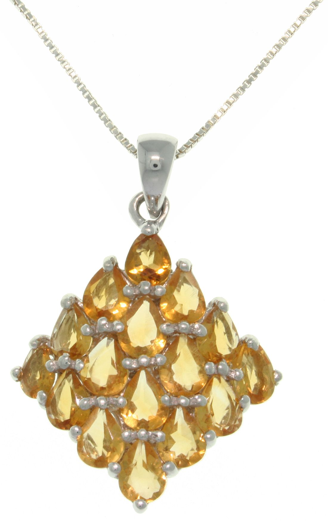 Jewelry Trends Sterling Silver and Citrine Pendant with 18 Inch Box Chain Necklace