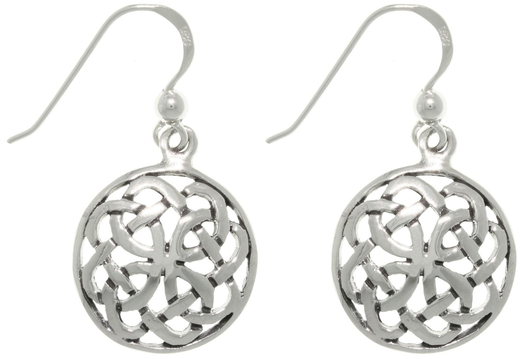 Jewelry Trends Sterling Silver Celtic Journey Knot Round Dangle Earrings