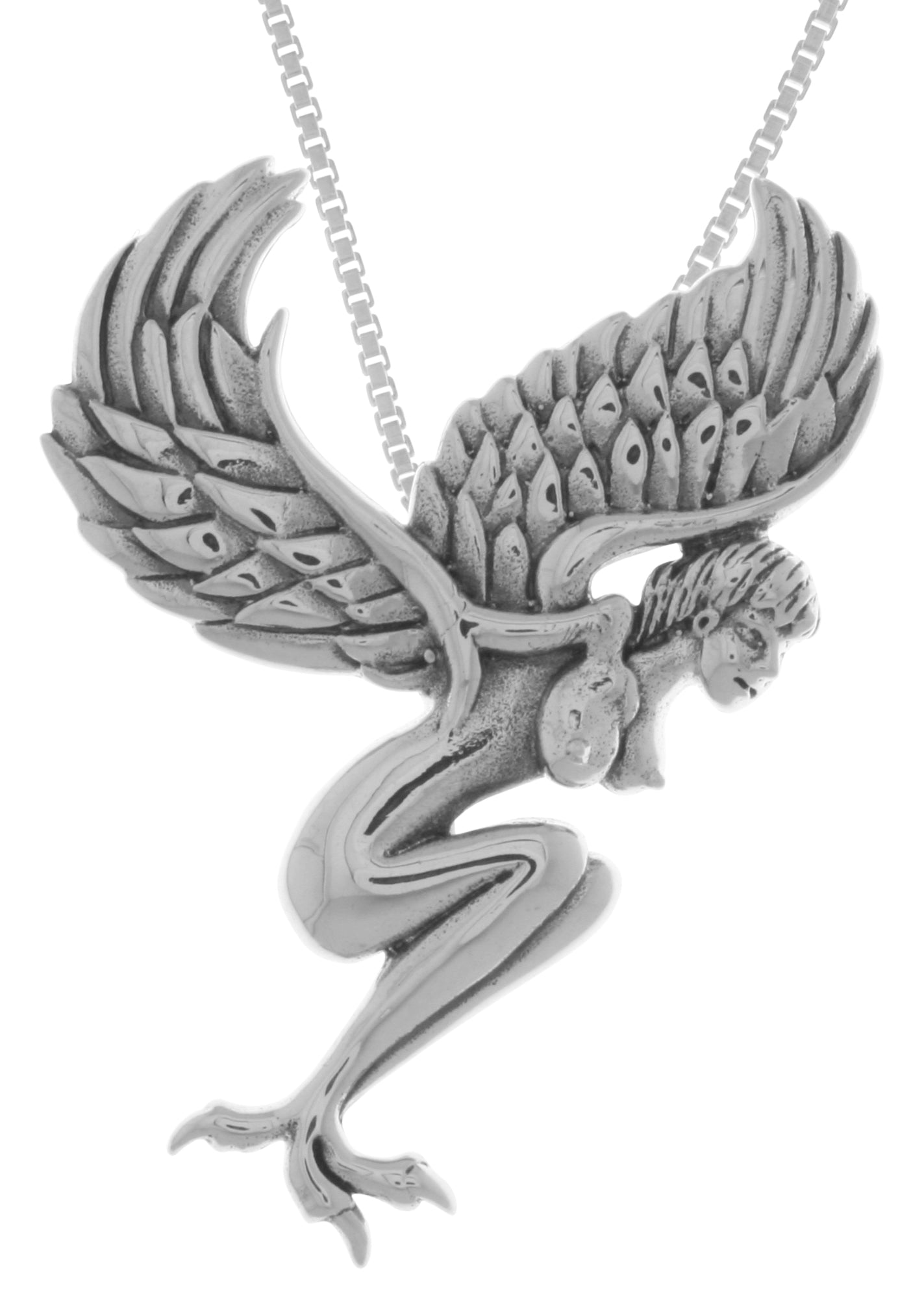 Jewelry Trends Sterling Silver Gothic Angel Pendant on 18 Inch Box Chain Necklace