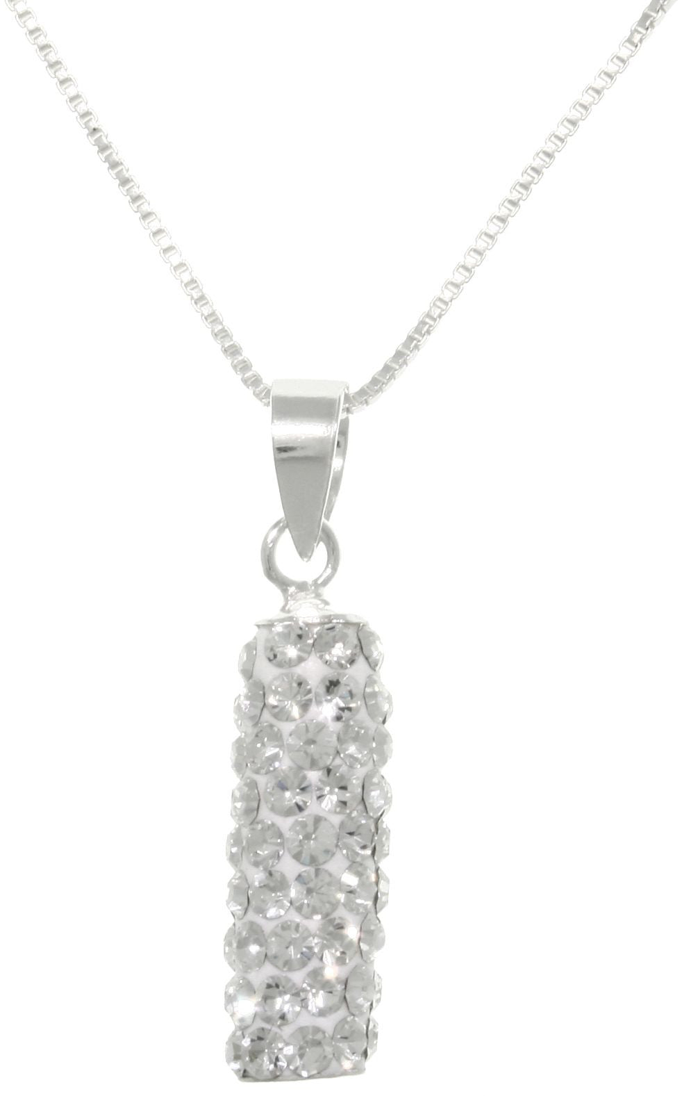 Jewelry Trends Sterling Silver Round Barrel Shaped Crystal Glass Sparkling Pendant on 18 Inch Necklace
