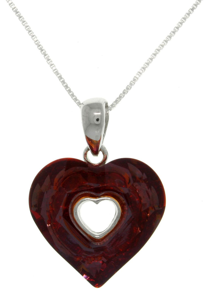 Jewelry Trends Sterling Silver Garnet Red Glass Heart Pendant Necklace